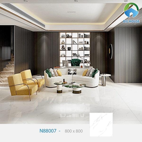 Tham khảo mẫu gạch Ý Mỹ vân đá marble trắng sắc nét, tinh xảo lát nền phòng khách thanh lịch và sang trọng