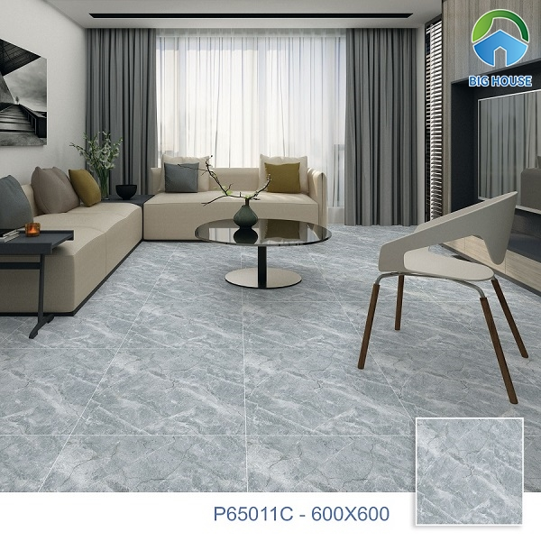 Công trình trở nên khác biệt và độc đáo hơn với mẫu gạch Ý Mỹ P65011C tone màu xanh ghi lát nền