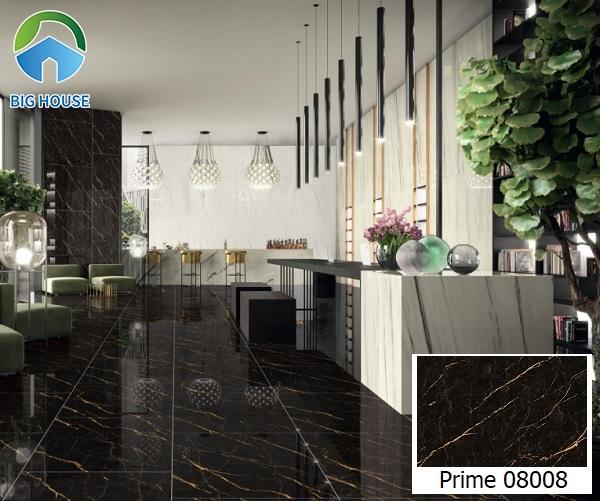 Không gian đại sảnh đẹp sang chảnh hút hồn người nhìn với mẫu gạch lát nền vân đá marble đen Prime 8008