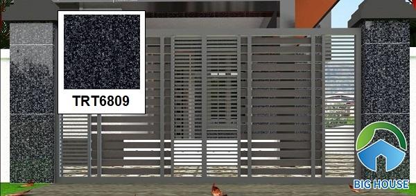 Gạch ốp tường TRT6809 vân đá hoa cương màu đen trang trí mặt tiền có kích thước 60x60 rất phổ biến hiện nay