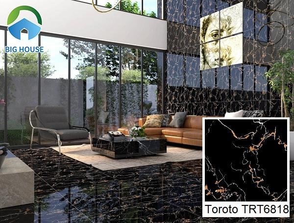 Sử dụng gạch Toroto TRT6818 ốp lát toàn bộ không gian phòng khách tạo không gian có chiều sâu. Đặc biệt, những vân đá kim sa toát lên vẻ đẹp long lanh, bắt mắt.