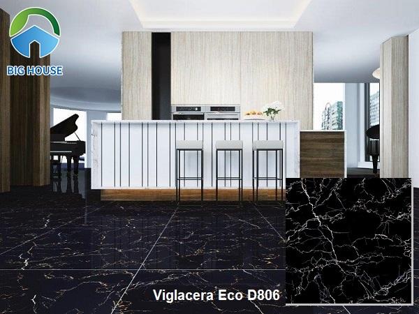 Hay bạn cũng có thể tham khảo mẫu gạch lát nền vân đá marble màu đen Viglacera ECO D806 kích thước 80x80