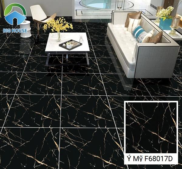 Gạch Ý Mỹ F68017D màu đen tuyền vân đá ánh vàng đầy ấn tượng là dòng gạch bán rất chạy trên thị trường