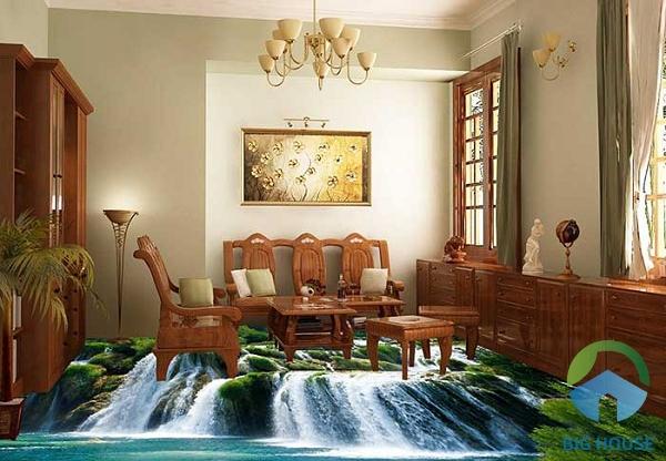 Thêm một mẫu gạch về cỏ cây, thác nước cho phòng khách thêm mát mẻ