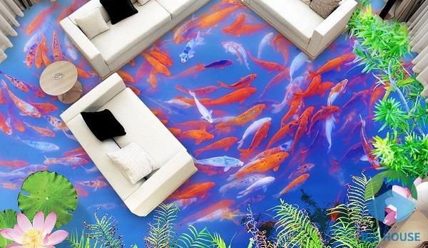 Phòng khách thật đẹp và độc đáo với mẫu gạch 3D hồ cá. Cá bơi lội tung tăng mang đến vẻ đep sống động, tạo cảm giác yêu đời, tươi vui