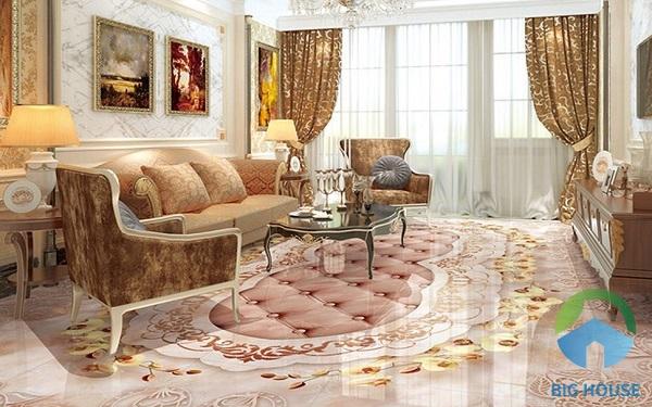 Không gian ấm áp, sang trọng với mẫu gạch lát họa tiết hoa phong lan vàng tao nhã