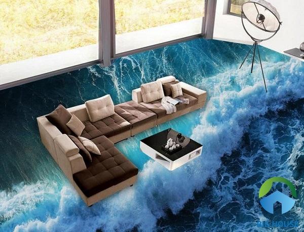 Hình ảnh sóng biển dữ dội tạo nét độc đáo, mới lạ cho phòng khách nhà bạn