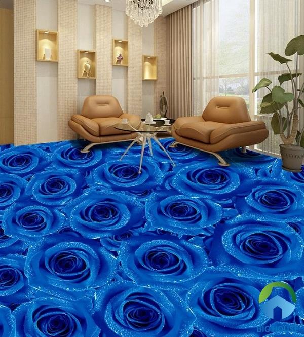 Những đóa hoa hồng xanh ý như thật trên sàn nhà khiến người nhìn không khỏi ngỡ ngàng