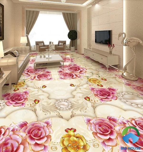 Ngoài ra, mẫu gạch hoa hồng cùng họa tiết uốn lượn mềm mại cũng rất ấn tượng