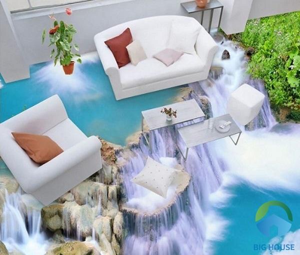 Gạch lát 3D với khung cảnh thác nước, núi non hùng vĩ mang tạo cảm giác tươi mát, sảng khoái trong ngôi nhà của bạn
