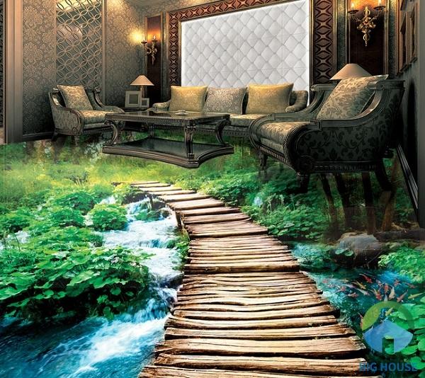 Gạch tranh 3D chân thực sống động, hút hồn người nhìn. Ngỡ như ngồi giữa khu rừng, hòa mình cũng thiên nhiên
