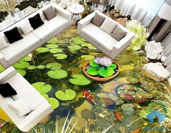 Bể cá cảnh ngay trong phòng khách nhà bạn. Đây là một trong những mẫu gạch lát nền được các gia đình rất ưa chuộng