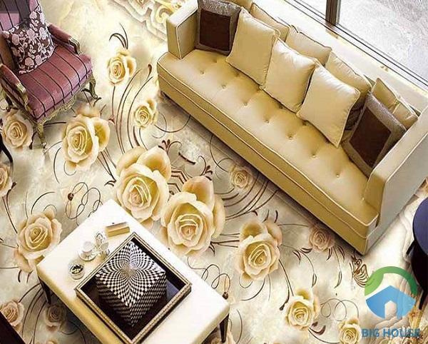 Bắt mắt với hình ảnh những đóa hồng vàng đầy sức sống. Không gian hài hòa giữa màu sắc đồng tone của gạch lát nền và nội thất