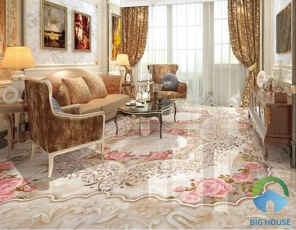 Những đóa hồng tinh tế, nhẹ nhàng cùng họa tiết dây leo uyển chuyển cho phòng khách đẹp lộng lẫy. Đây là một trong những mẫu gạch 3D lát nền lý tưởng giúp phòng khách thêm sang