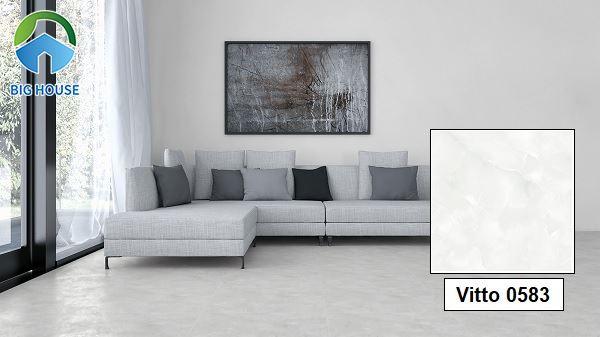 Bên cạnh đó, bạn cũng có thể tham khảo mẫu gạch lát nền 50x50 giá rẻ Vitto 0583. Gạch có men bóng, vân đá, xanh biển mát mẻ.