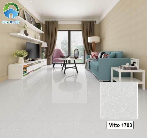 Gạch Vitto 1703 xám vân đá lát nền giúp không gian phòng khách sang hơn.