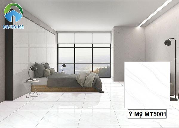 Gạch màu trắng Ý Mỹ MT5001 vân đá xám lát nền phòng ngủ rất đẹp.