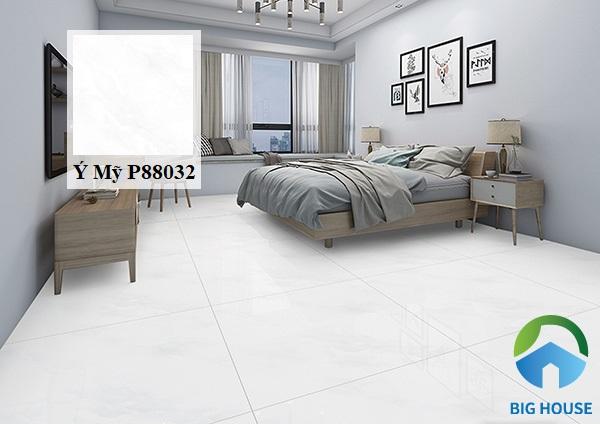 Không gian phòng ngủ mang vẻ đẹp đơn giản, hiện đại với mẫu gạch lát nền 80x80 Ý Mỹ P88032