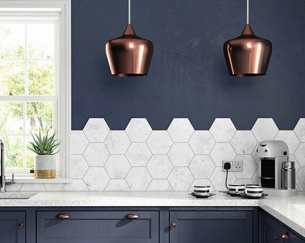 gạch lục giác ốp bếp tông màu trắng