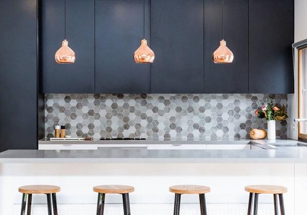 gạch ốp bếp đẹp lục giác mosaic