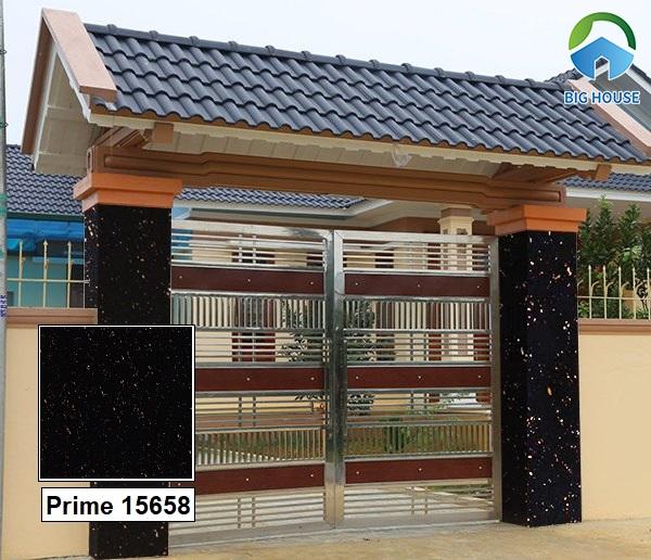 Gạch Prime 15658 60x60 ốp cổng cũng được các gia chủ quan tâm hiện nay. Họa tiết vân đá hoa cương lấp lánh rất thu hút.