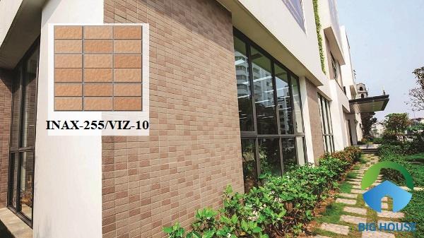 Gạch ốp mặt tiền Inax 255/VIZ-10 giả tone màu đỏ truyền thống rất dễ ứng dụng
