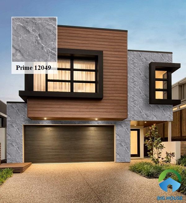Prime 12049 xám đá vân marble toát lên vẻ đẹp sang trọng, hiện đại cho không gian mặt tiền nhà