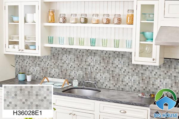 Gạch ốp tường bếp 30x60 hoạ tiết chấm bi Bạch Mã H36028E1