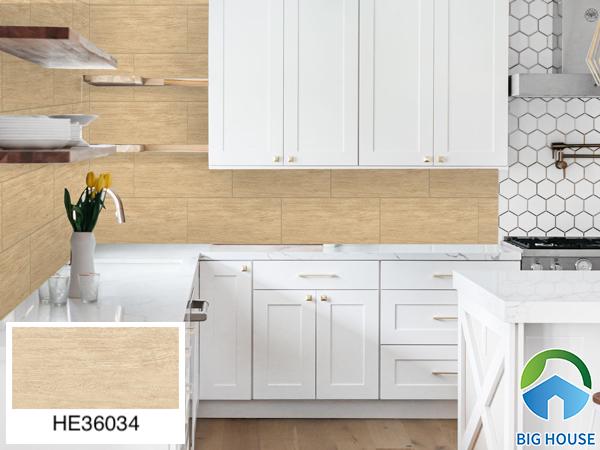 Gạch ốp tường bếp 30x60 giả gỗ Bạch Mã H36034