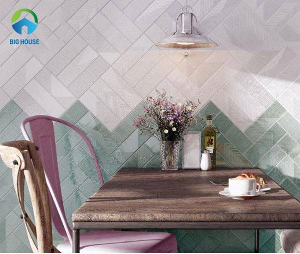 gạch ốp tường bếp màu xanh trắng