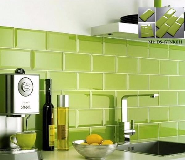 gạch ốp tường bếp màu xanh