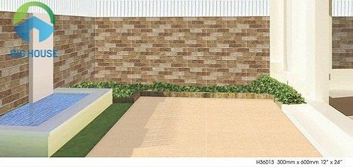 gạch ốp hàng rào sân trước