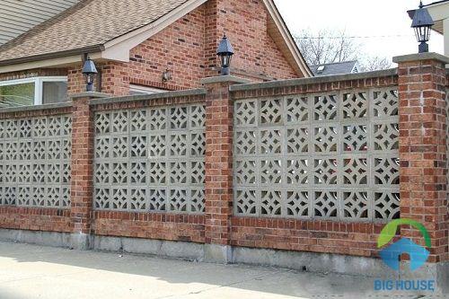 gạch ốp tường hàng rào sân sau tinh tế