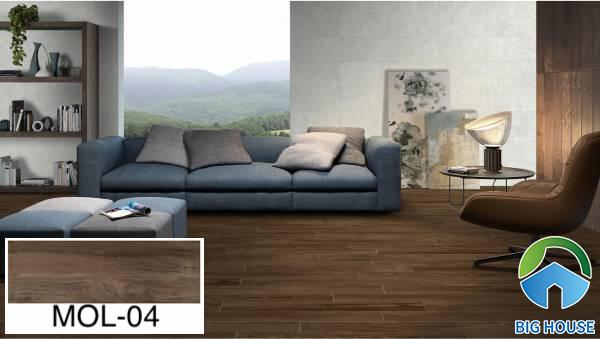 Gạch ốp tường phòng khách giả gỗ Viglacera MOL-04