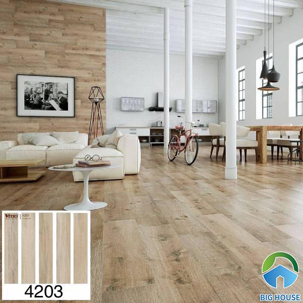 Gạch ốp tường phòng khách giả gỗ Vitto 4203