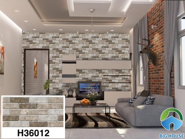 Gạch ốp tường phòng khách nhà cấp 4 Bạch Mã H36012