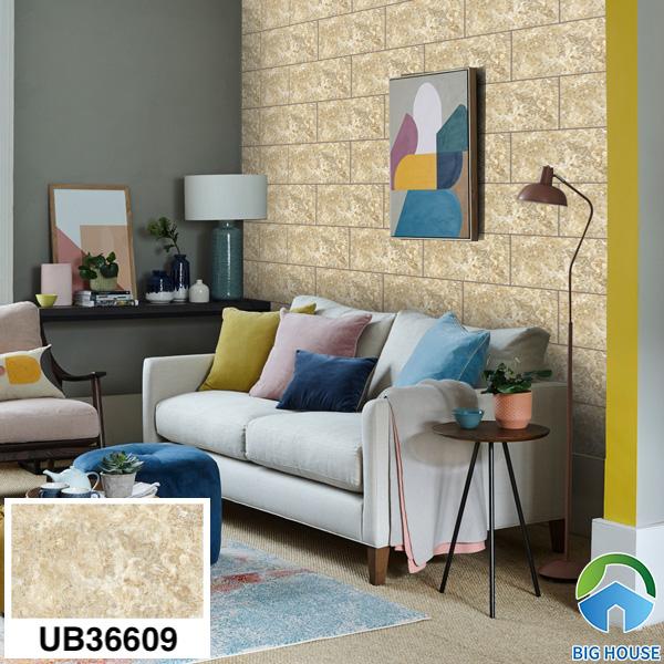 Gạch ốp tường phòng khách nhà cấp 4 Viglacera UB36609