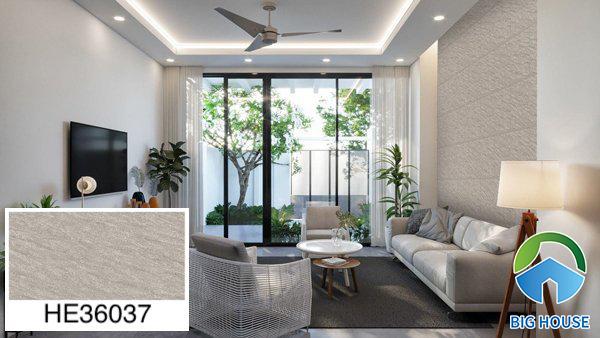 Gạch ốp tường phòng khách nhà ống Bạch Mã vân đá HE36037