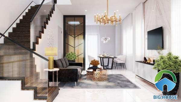 Cách chọn gạch ốp tường phòng khách nhà ống phù hợp với diện tích
