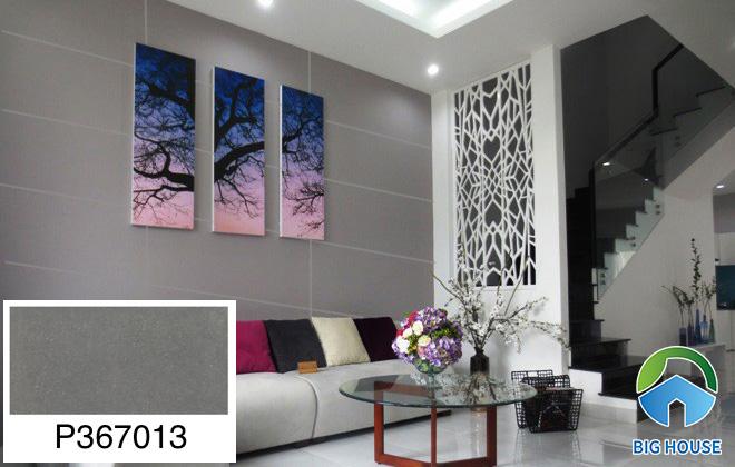 Gạch ốp tường phòng khách nhà ống Ý Mỹ màu ghi P367013