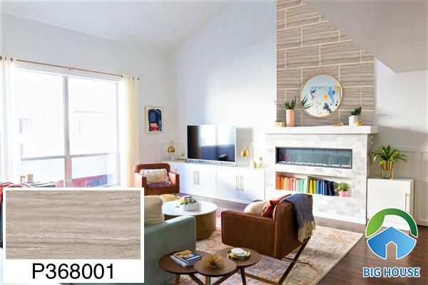 Gạch ốp tường phòng khách nhà ống Ý Mỹ vân gỗ P368001