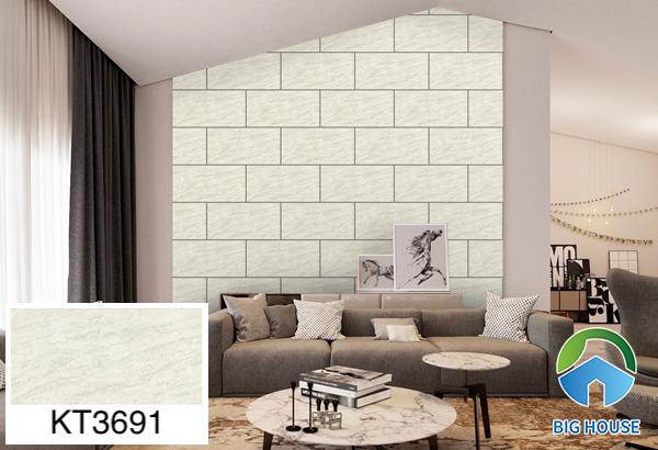 Gạch ốp tường phòng khách nhà ống Viglacera vân đá KT3691