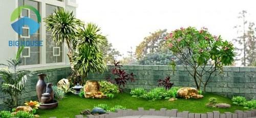 gạch ốp tường sân vườn trước nhà