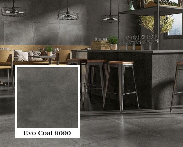 Mẫu gạch tây ban nha ốp tường bếp màu đen ghi đẹp mắt