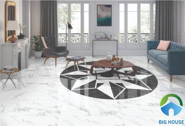 Gạch thảm lát nền phòng khách hình khối đơn giản