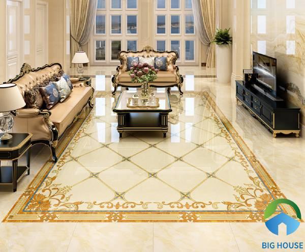 Gạch thảm lát nền phòng khách đơn giản