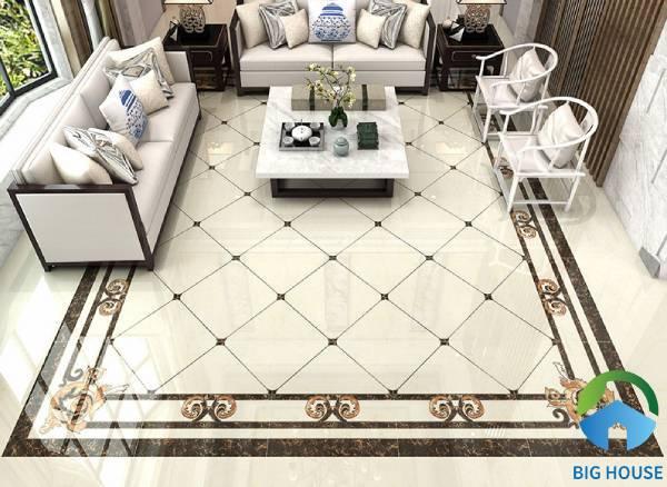 Gạch thảm lát nền phòng khách hoạ tiết đơn giản
