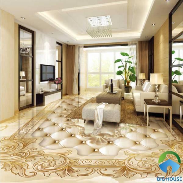 Gạch thảm lát nền phòng khách hoạ tiết 3D sinh động