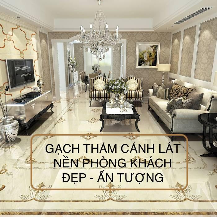 Phối cảnh gạch thảm lát nền phòng khách ấn tượng nhất 2021