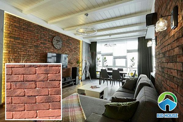 Không gian phòng khách ốp một bức tường cổ với mẫu gạch NPGC003 22 x 6 x1cm